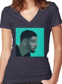 Tim Duncan Women's Fitted V-Neck T-Shirt