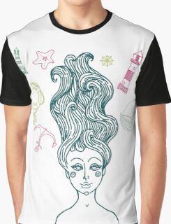 Mermaid with long curly hair Graphic T-Shirt
