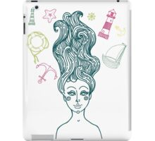 Mermaid with long curly hair iPad Case/Skin