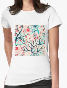 apples berries branch seamless ornament Womens Fitted T-Shirt