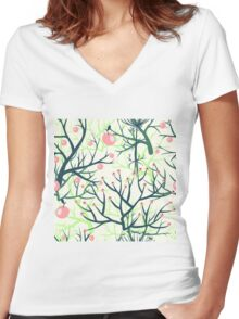 apples berries branch seamless ornament Women's Fitted V-Neck T-Shirt