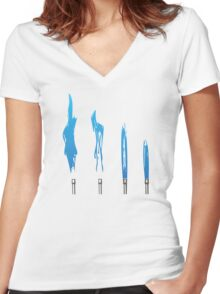 Flames of Science (Bunsen Burner Set) - Blue Women's Fitted V-Neck T-Shirt