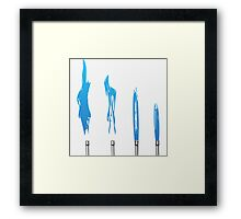Flames of Science (Bunsen Burner Set) - Blue Framed Print
