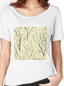 Vector seamless pattern.Stylish texture. Endless floral background. berries branch seamless ornament Women's Relaxed Fit T-Shirt