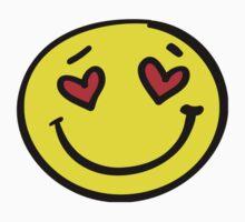 love heart smiley face One Piece - Short Sleeve
