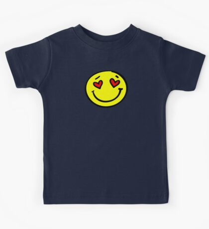 love heart smiley face Kids Tee