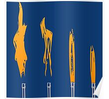 Flames of Science (Bunsen Burner Set) - Orange Poster