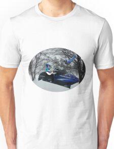 BLUE JAY ON ON SKI-DOO-- PLAYS GUITAR SERENADES MATE --VARIOUS FUN BLUE JAYS APPAREL... Unisex T-Shirt