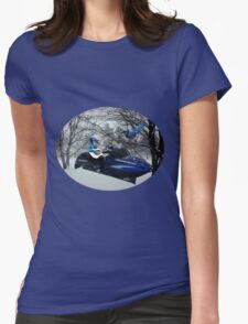 BLUE JAY ON ON SKI-DOO-- PLAYS GUITAR SERENADES MATE --VARIOUS FUN BLUE JAYS APPAREL... Womens Fitted T-Shirt