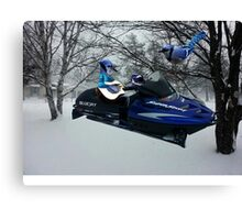 BLUE JAY ON ON SKI-DOO-- PLAYS GUITAR SERENADES MATE --VARIOUS FUN BLUE JAYS APPAREL... Canvas Print