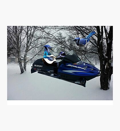 BLUE JAY ON ON SKI-DOO-- PLAYS GUITAR SERENADES MATE --VARIOUS FUN BLUE JAYS APPAREL... Photographic Print