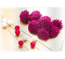 Beautiful red Chrysanthemum flowers for Japanese New Year background image Poster