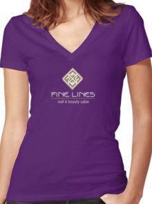 Fine Lines Nail and Beauty Salon Women's Fitted V-Neck T-Shirt