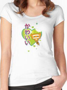 Kawaii Kute Hungry Raccoon Green Women's Fitted Scoop T-Shirt