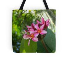 Tropical Paradise - Fragrant, Hot Pink Plumeria in a Lush Garden Tote Bag