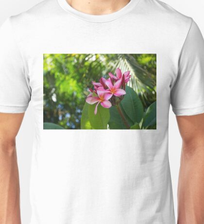 Tropical Paradise - Fragrant, Hot Pink Plumeria in a Lush Garden Unisex T-Shirt