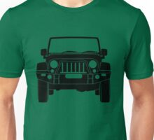 'Full Frontal' - Jeep Wrangler with Bull Bar Tee Shirt Design - Black Unisex T-Shirt