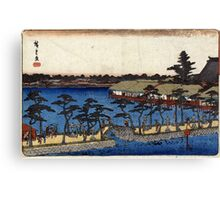 Benten Shrine Shinobazu Pond - Hiroshige Ando - 1837 - woodcut Canvas Print