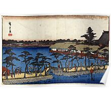 Benten Shrine Shinobazu Pond - Hiroshige Ando - 1837 - woodcut Poster