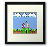 Mario 8bit ♥ Love World Framed Print