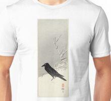 Blackbird Near Reeds In Snow - Eigon Bessho - 1890 - woodcut Unisex T-Shirt