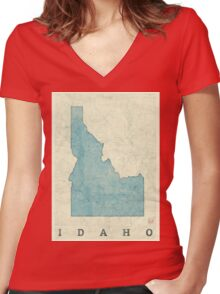 Idaho State Map Blue Vintage Women's Fitted V-Neck T-Shirt