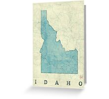 Idaho State Map Blue Vintage Greeting Card