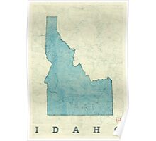 Idaho State Map Blue Vintage Poster