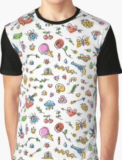 Colorful Funny Old School Tattoo Pattern Graphic T-Shirt