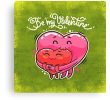 Hugging Valentine Hearts Canvas Print