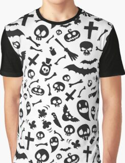 Halloween Black Symbols Pattern Graphic T-Shirt