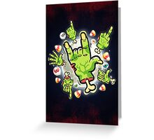 Cartoon Zombie Hands Greeting Card