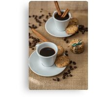 Homemade cookies , coffee and cinnemon om gray background Canvas Print