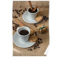 Homemade cookies , coffee and cinnemon om gray background Poster