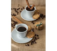 Homemade cookies , coffee and cinnemon om gray background Photographic Print