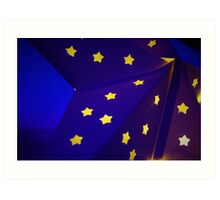 Blue Star with yellow stars Art Print