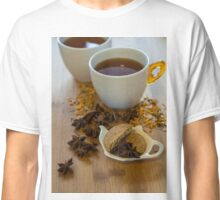 Tea, vegan cookies , and anise on wooden background Classic T-Shirt