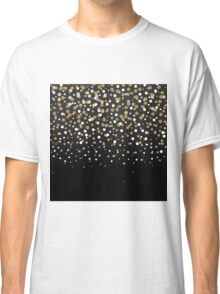 Pretty modern girly faux gold glitter confetti ombre illustration Classic T-Shirt