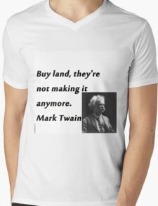 Buy Land - Mark Twain Mens V-Neck T-Shirt