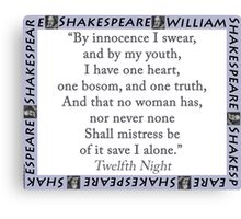 By Innocence I Swear - Shakespeare Canvas Print