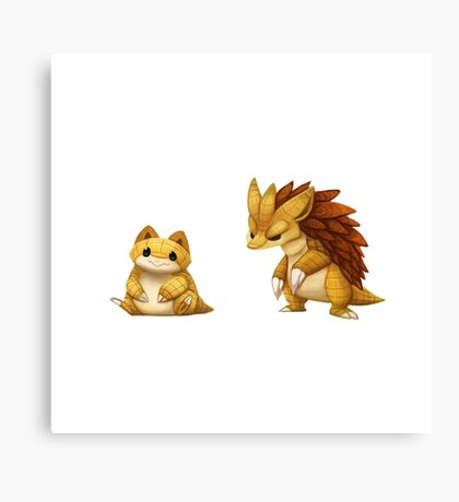 Pokemon Sandshrew Evolution Canvas Print