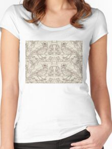 Song Thrush Toile de Jouy Inspired Pale Lime Women's Fitted Scoop T-Shirt