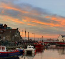 Whitby Harbour at Sunset Sticker