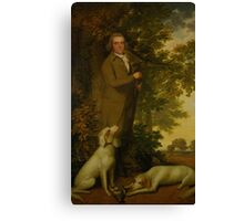 James Millar PORTRAIT OF A GENTLEMAN, HOLDING A GUN, TWO DOGS AND A PARTRIDGE AT HIS FEET, IN A WOODED LANDSCAPE JAMES MILLAR Canvas Print