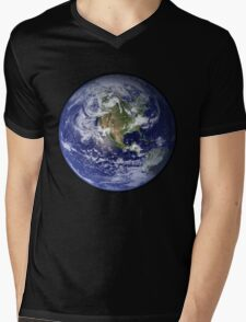 Blue Marble Mens V-Neck T-Shirt