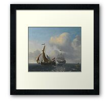 Jan Wubbels A WIJDSCHIP AND A MAN O' WAR IN CHOPPY WATERS Framed Print