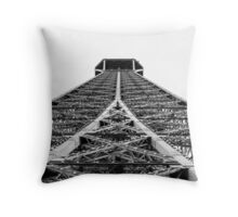 Towards the top of the Eiffel Tower Throw Pillow