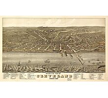 Birds eye view Map of Cleveland Ohio (1877) Photographic Print