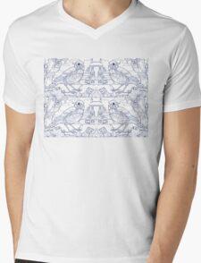 Song Thrush Toile de Jouy Inspired Blue Mens V-Neck T-Shirt