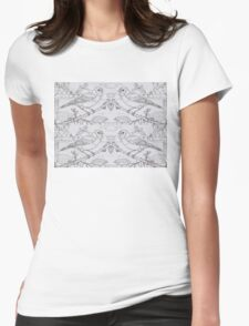 Chaffinch Toile de Jouy Inspired Pale Grey Womens Fitted T-Shirt
